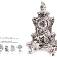 pendolo con pantera in resina argentata