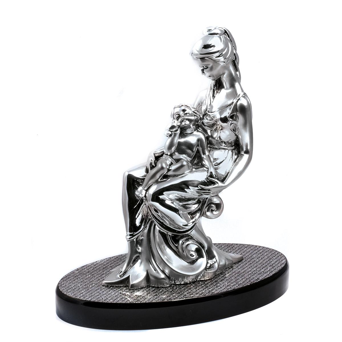 """statua """"maternità"""" in resina argentata"""