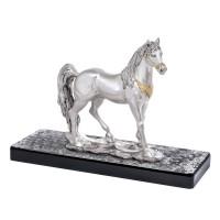 """Statua in resina argentata e oro """"Cavallo Arabo"""""""