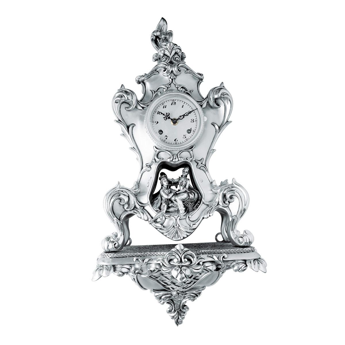 Orologio da parete in resina argentata stile barocco - Orologi da parete stile country ...